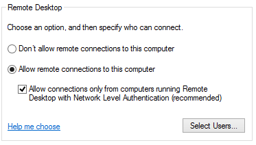Remote Desktop Allow Remote