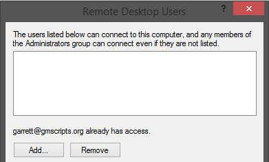 Remote Desktop Select Users