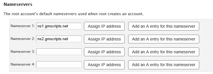 WHM DNS Setup